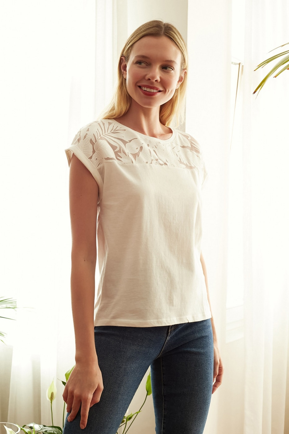 Trendyol White Lacy Knitted Blouse