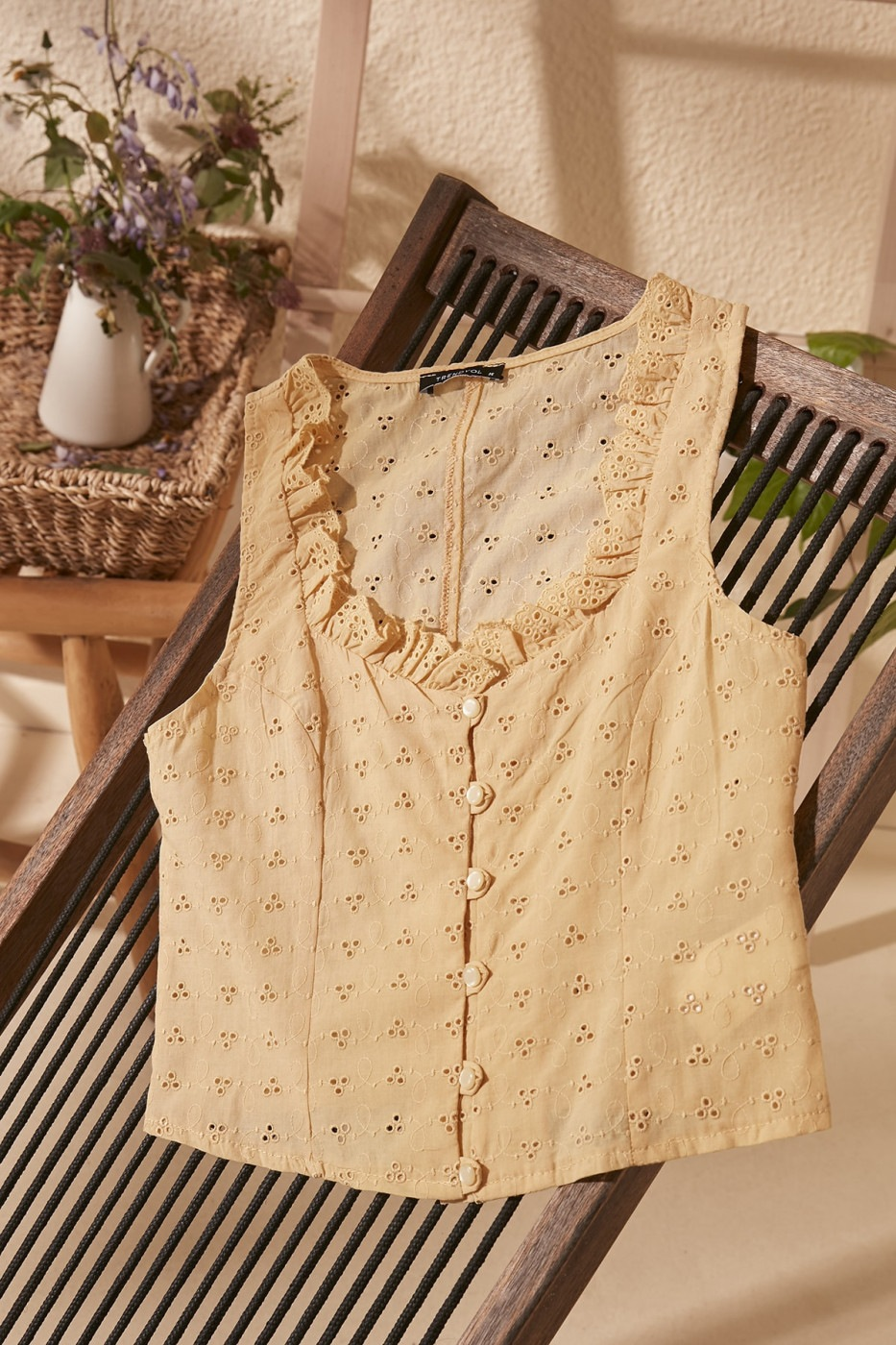 Trendyol Yellow Lace Detailed Blouse