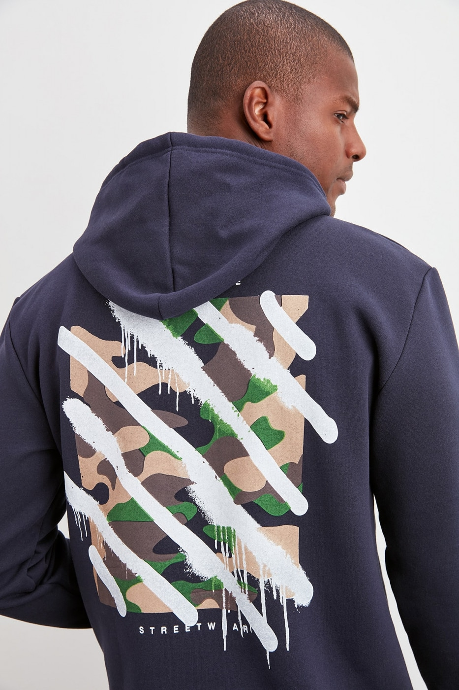 Trendyol Navy Blue Back Printed Sweatshirt