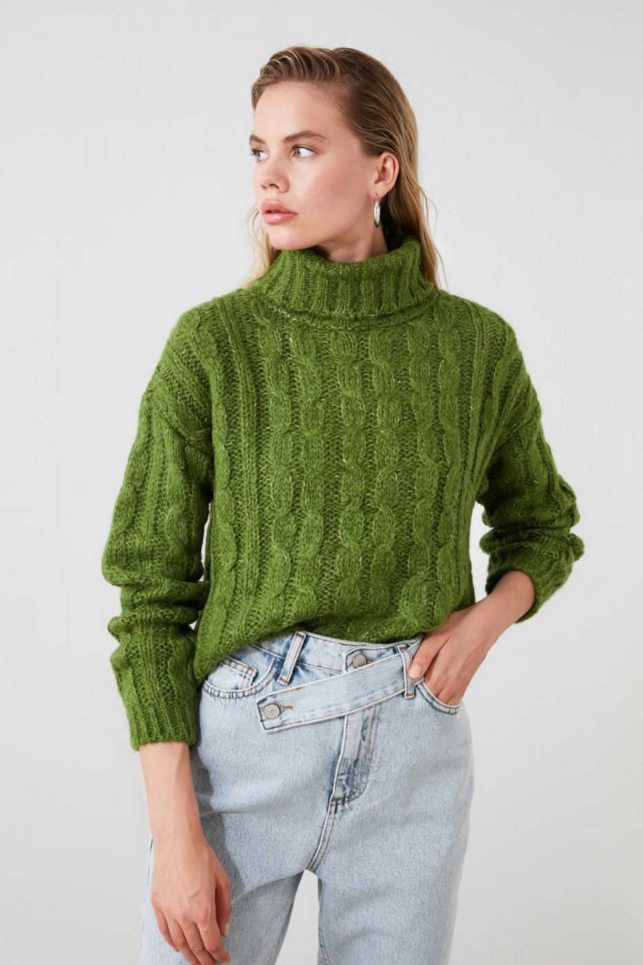 Trendyol Green Hair Braid Detailed Knitwear Sweater