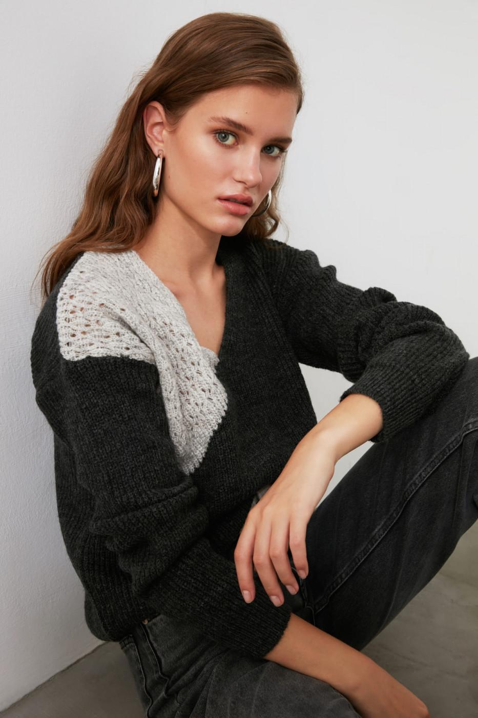 Trendyol Anthracite Contrast Mesh Detailed V Collar Sweater