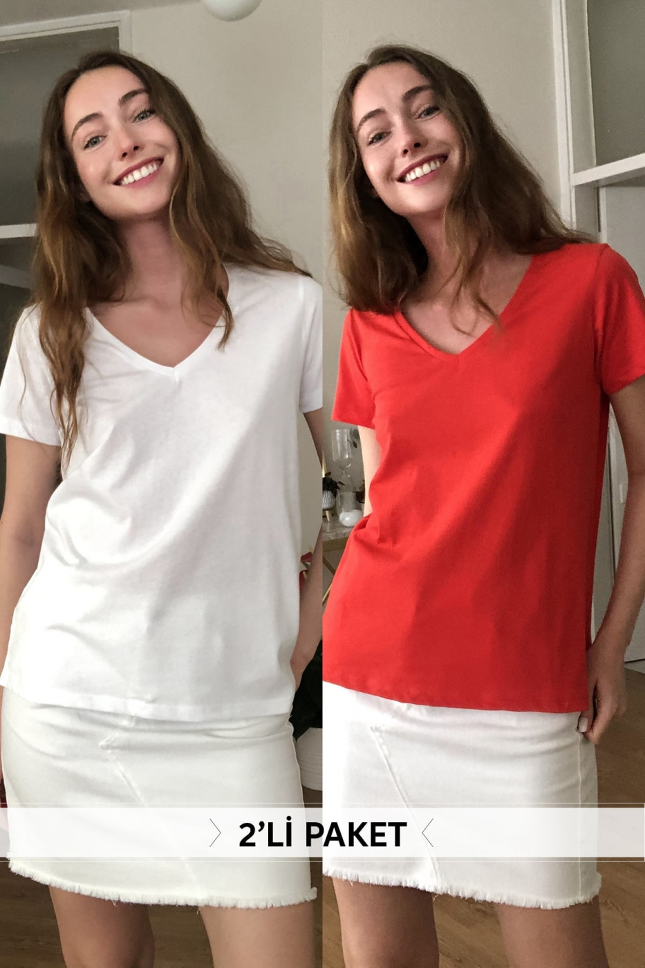 Trendyol Red and White 2 Pack V Collar 100% Cotton Basic Knitted T-Shirt
