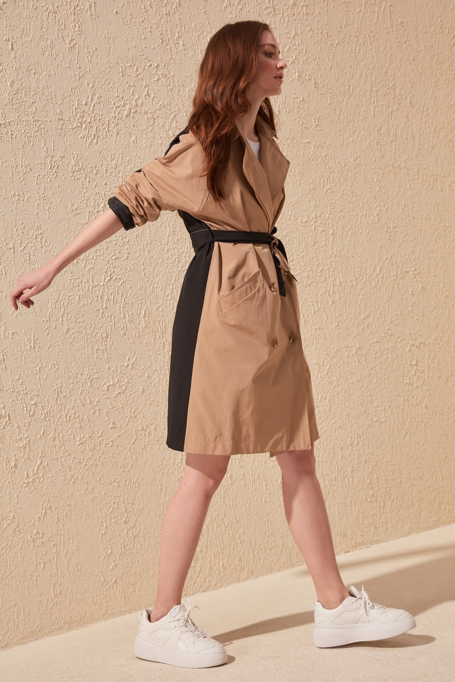 Trendyol Camel Color Block Long Arch trench coat