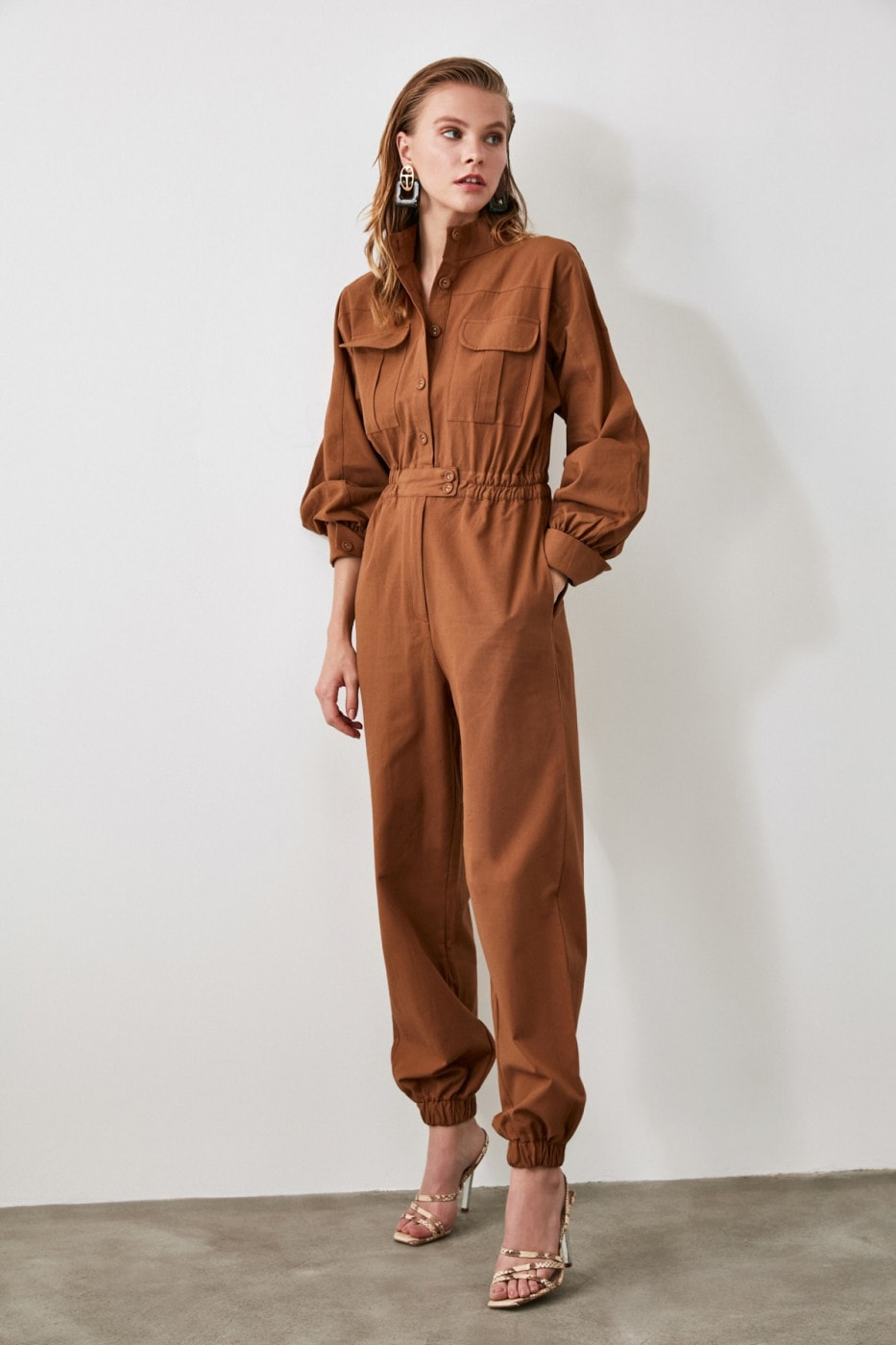 Trendyol Brown Button Detailed Jumpsuit
