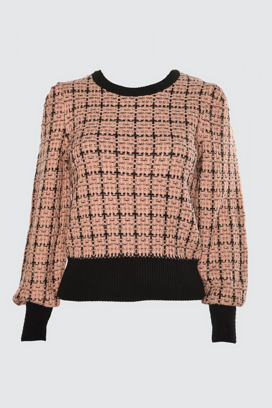 Trendyol Rose Dry Simli Tweed-Looking Knit Co-wearer Sweater