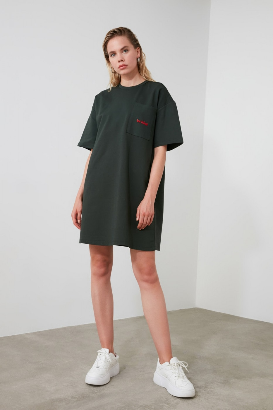 Trendyol Khaki Embroidered Mini Knitting Dress