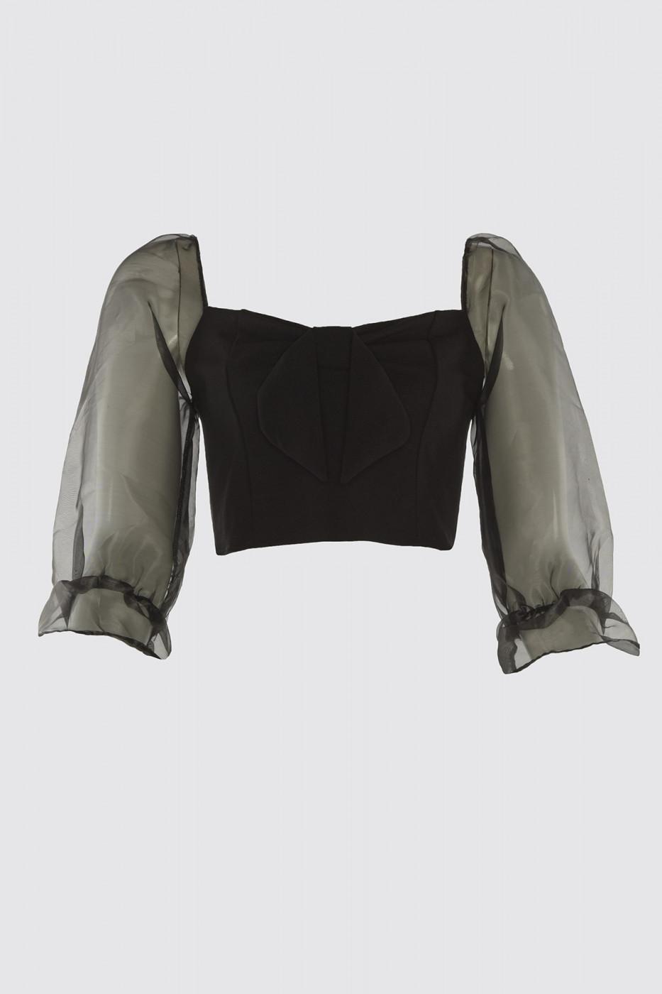 Trendyol Black Organzle Sleeve Bind Blouse