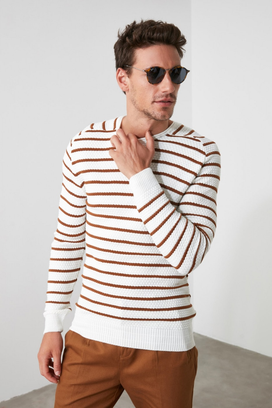 Trendyol Ekru Men's Bicycle Collar Striped Textured Knitwear Sweater