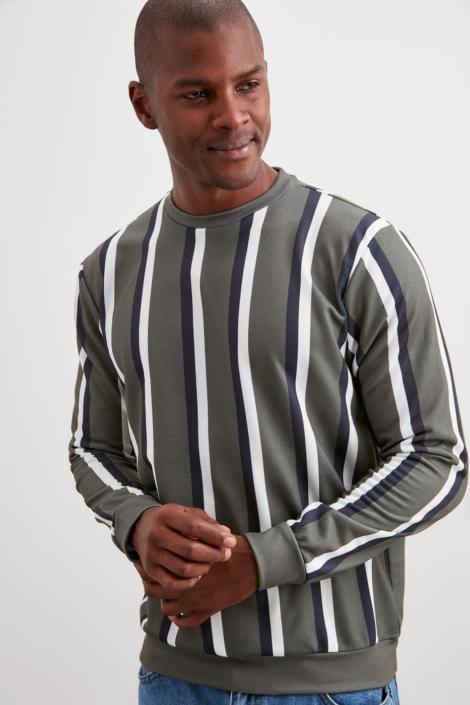 Trendyol Khaki Men's Bicycle Collar Striped New Sweatshirt