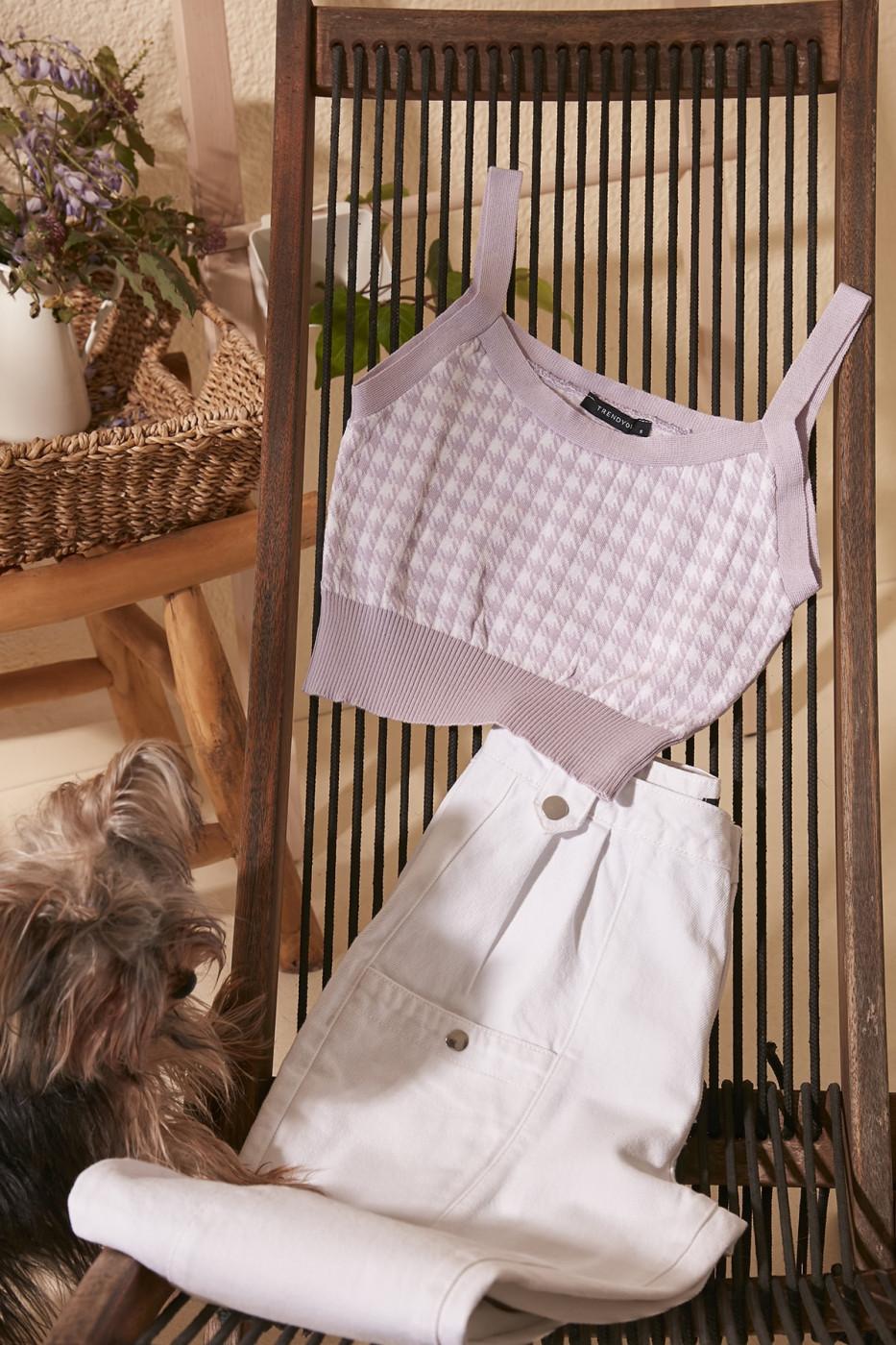 Trendyol Lila Crowbar Patterned Crop Knitwear Blouse