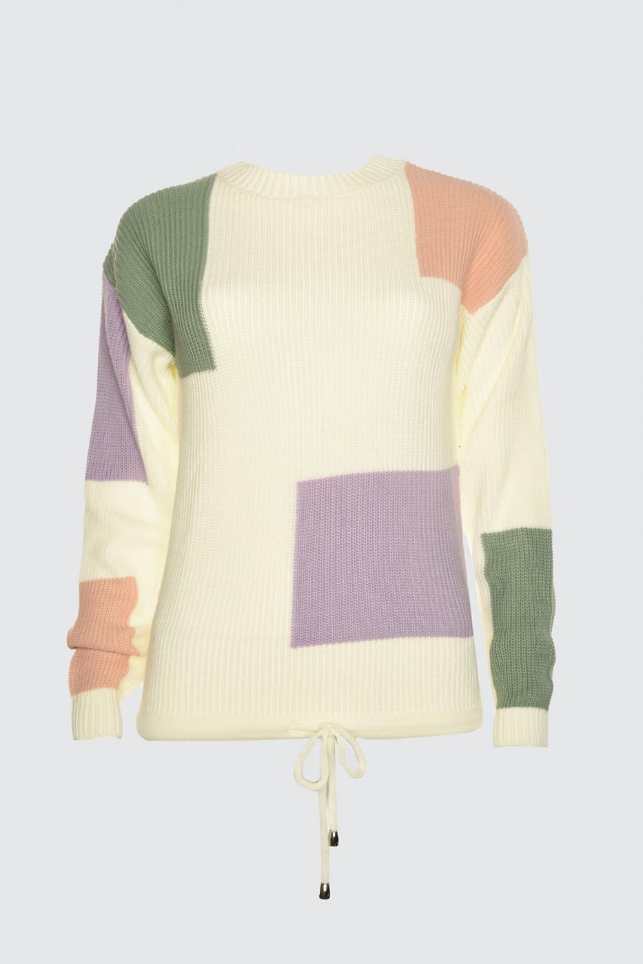 Trendyol Ekru Color Block Knitwear Sweater