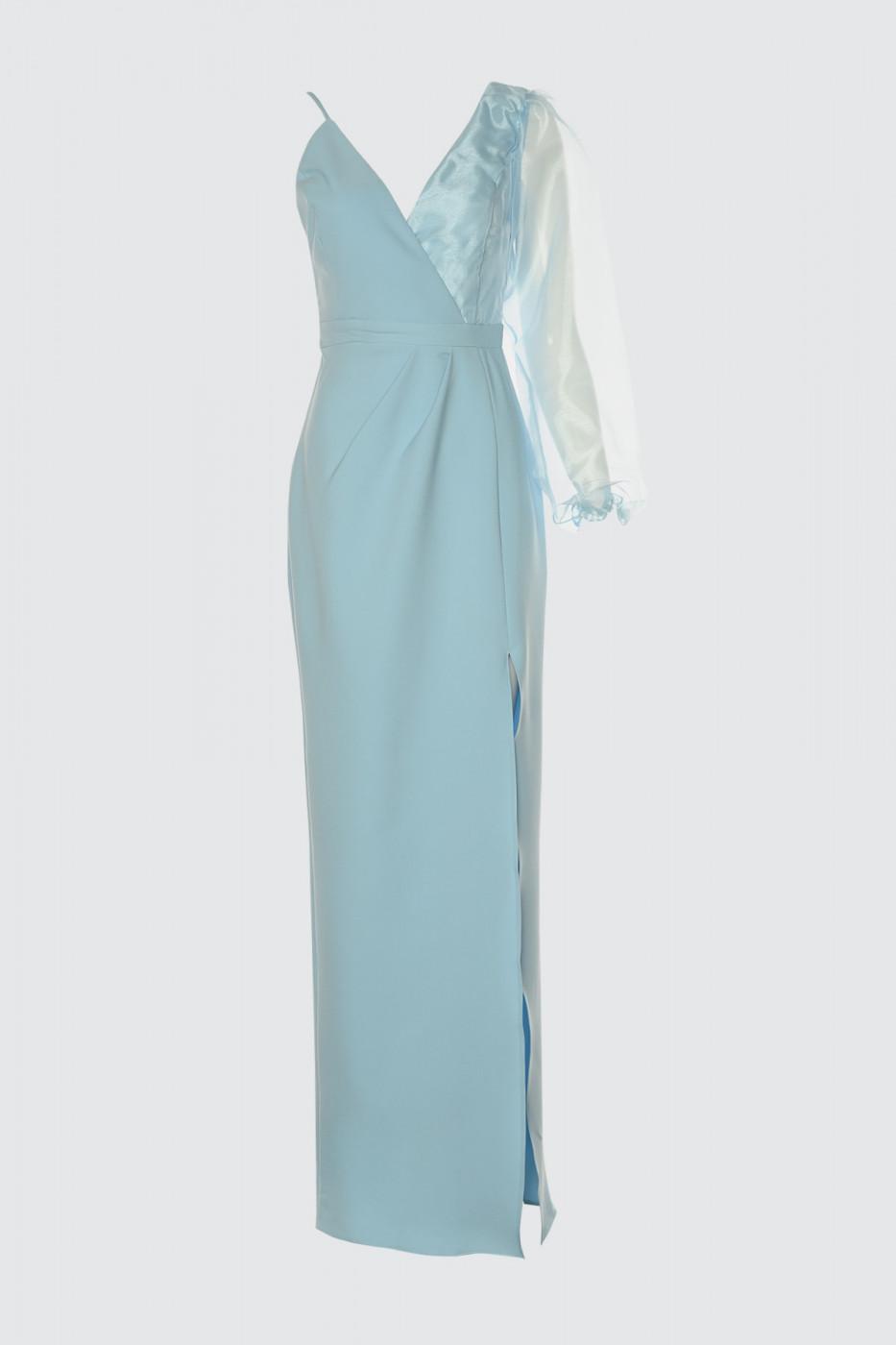 Trendyol Blue Arm Organze Detailed Evening Dress & Graduation Dress