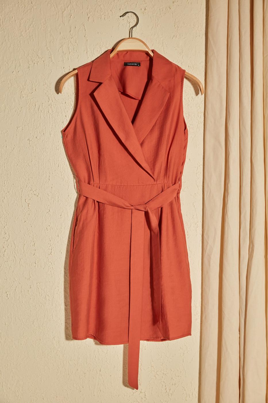 Trendyol Tdare Belted Pocket Detailed Dress