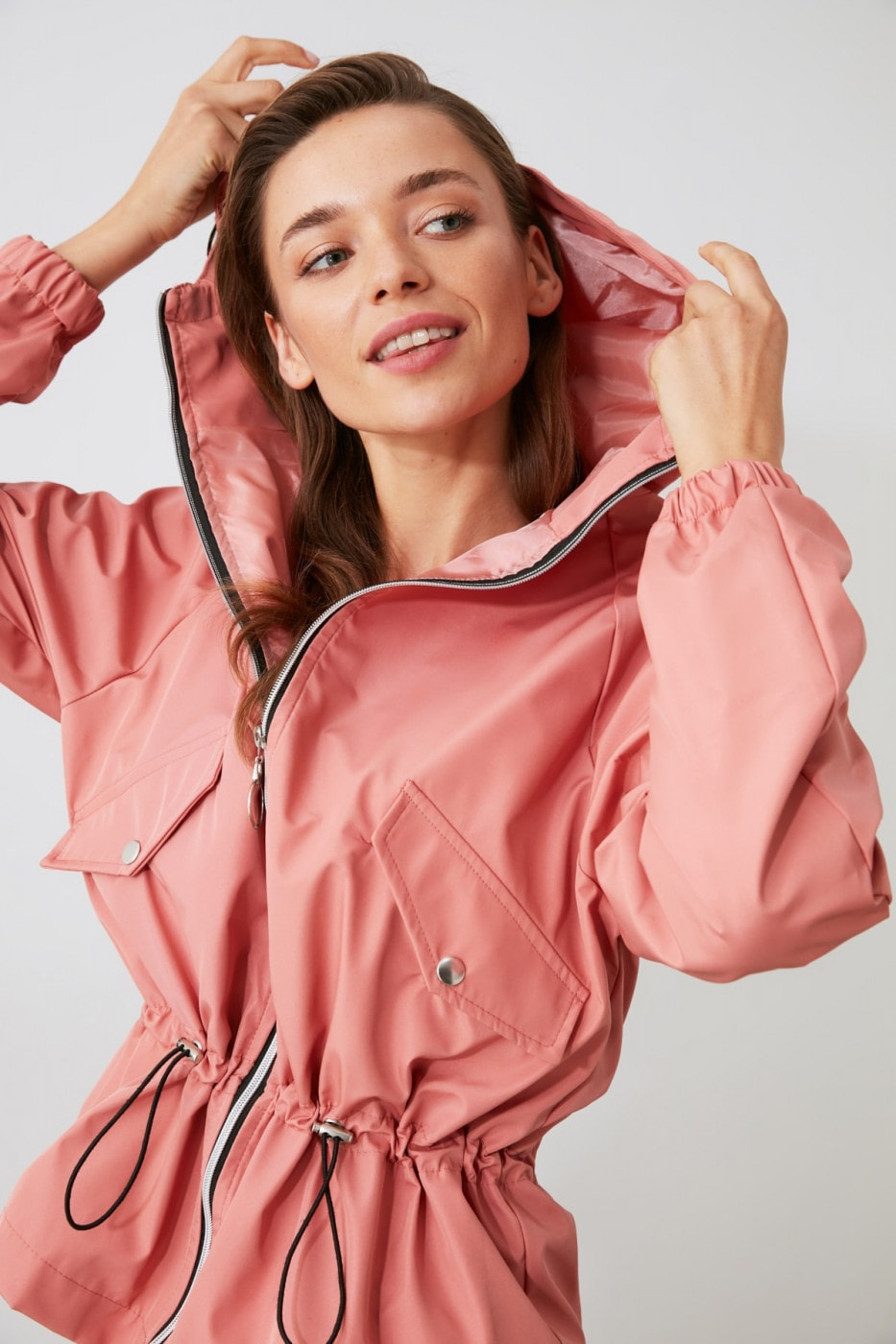 Trendyol Rose Dry Hooded Ruffle Detailing Water Propulsion Coat