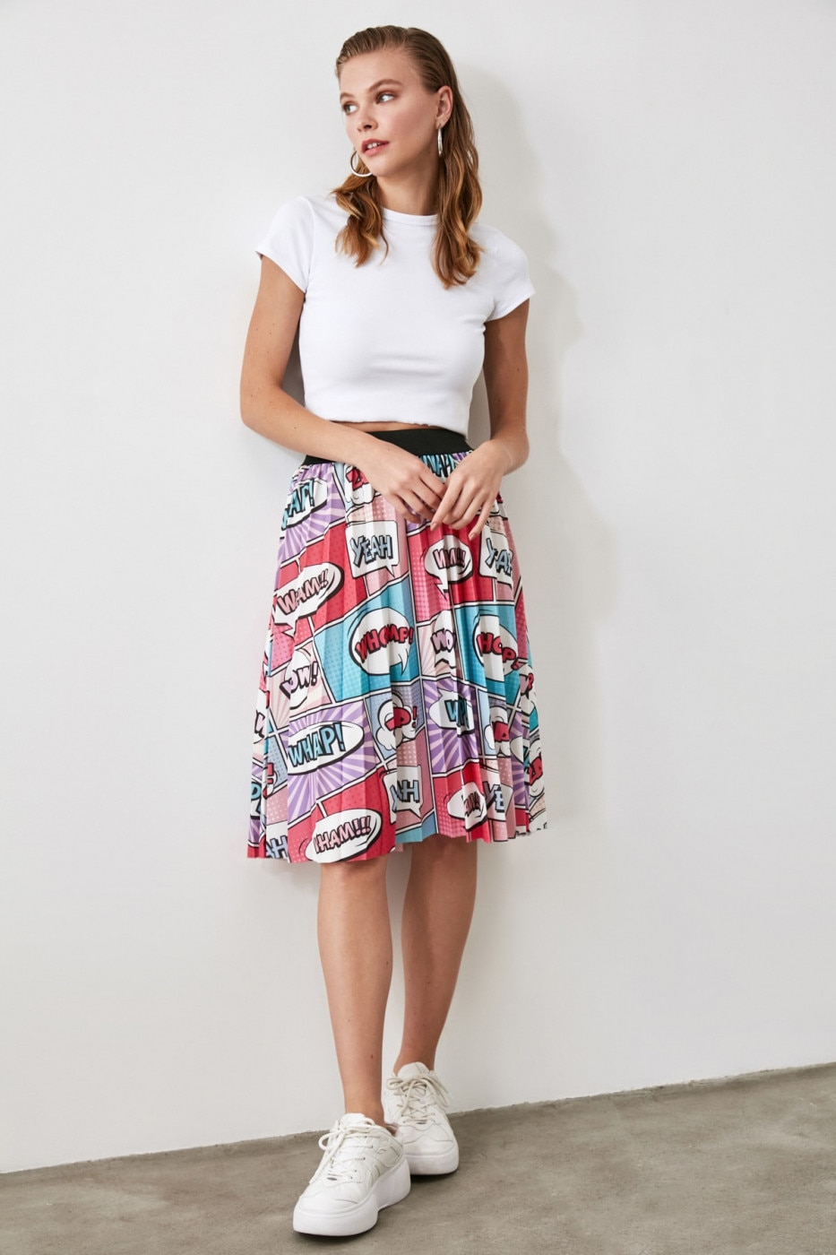 Trendyol Pink Printed Pleated Knitted Skirt