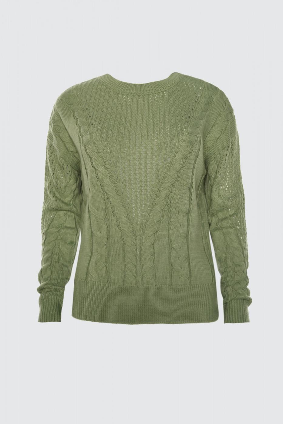 Trendyol Mint Blinds Knitted Detailed Knitwear Sweater