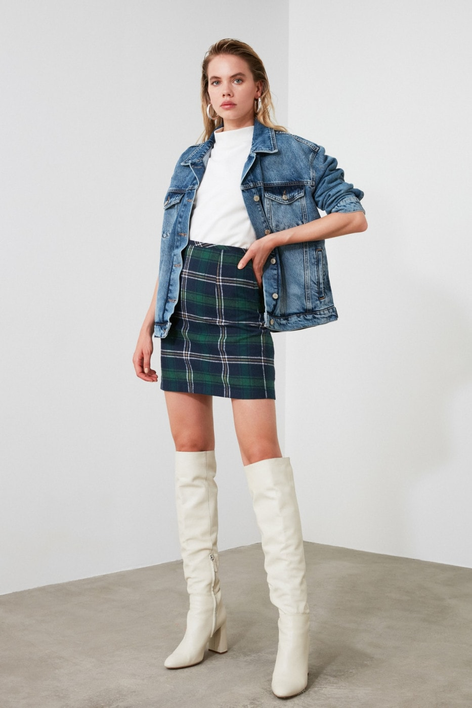 Trendyol Navy Plaid Skirt