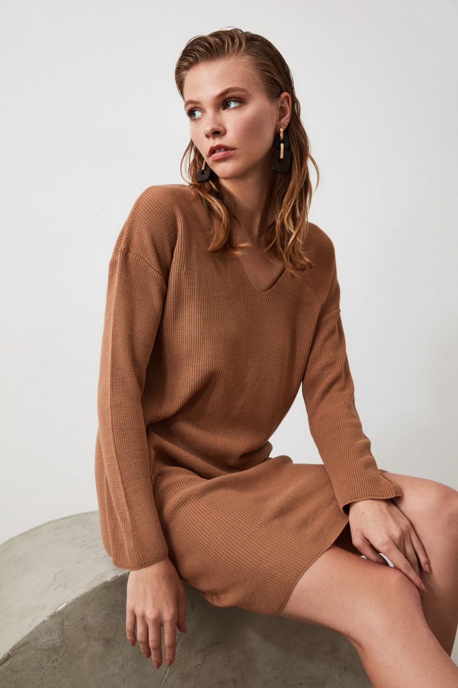 Trendyol Camel V Collar Knitwear Dress