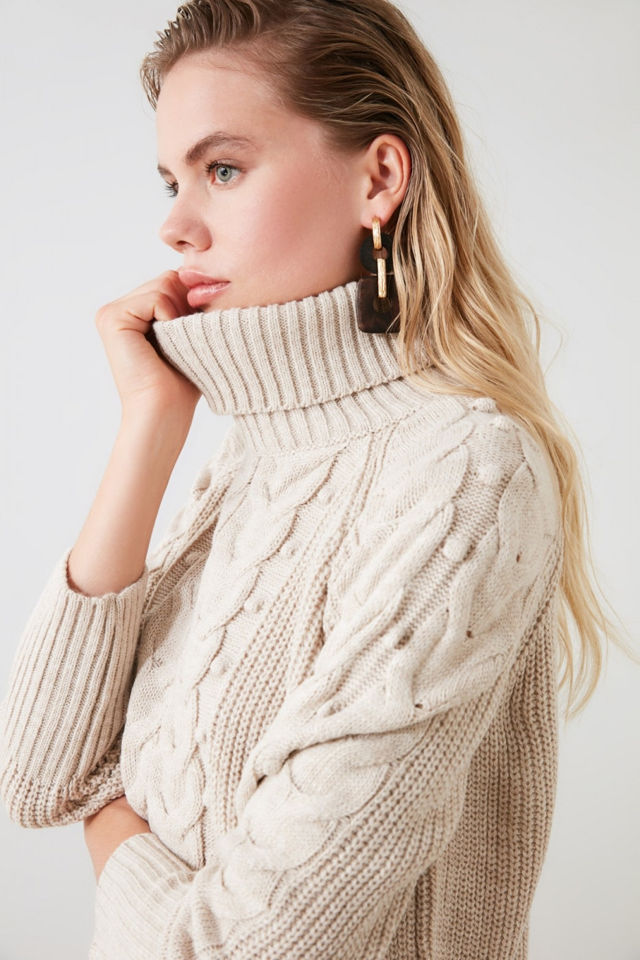 Women's Turtleneck Trendyol Mesh detailed