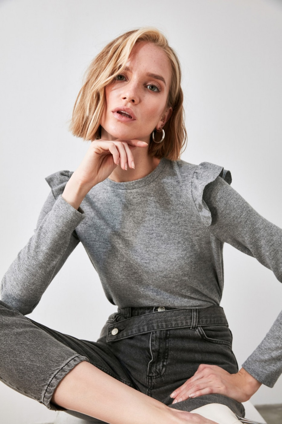 Trendyol Grey Shoulder Detailed Knitted Blouse