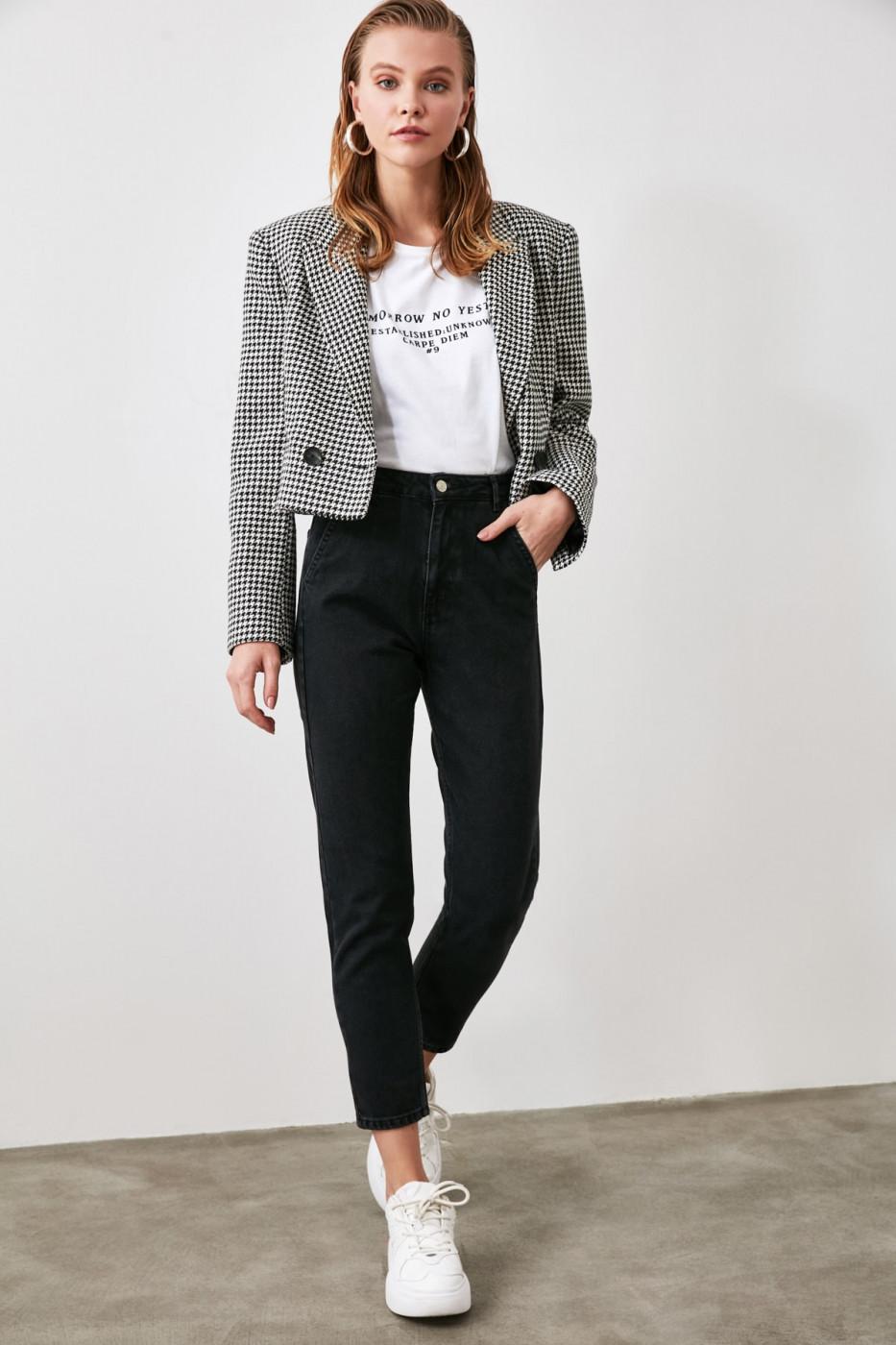 Trendyol Black Chino Pocket High Waist Mom Jeans
