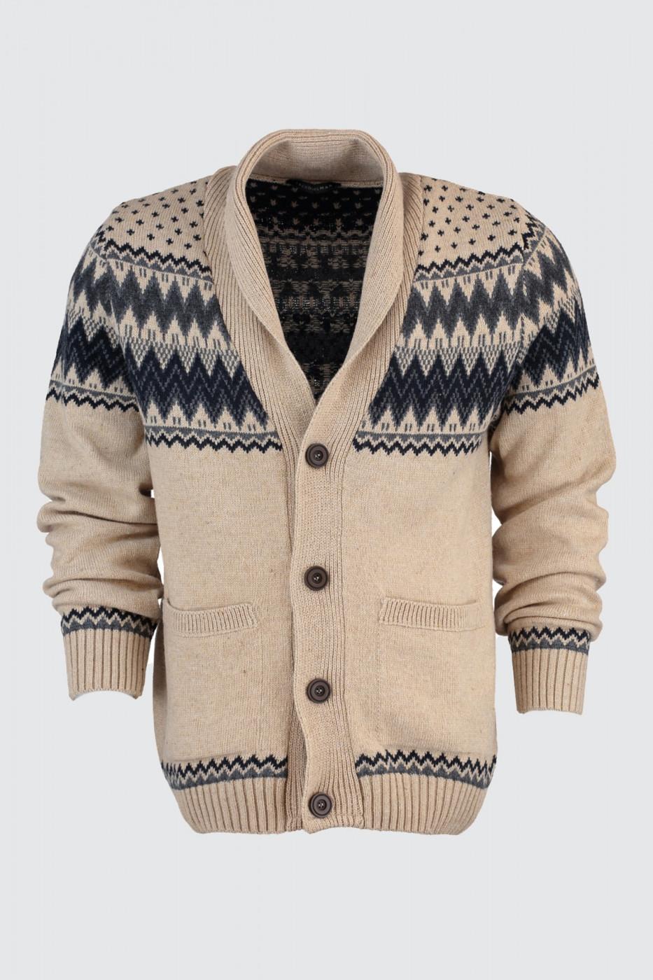 Trendyol Beige Male Jacquard Shawl Collar Cardigan