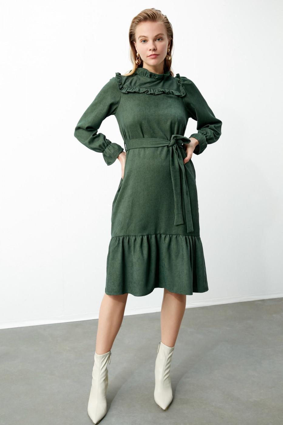 Trendyol Khaki BeltEd Frill Detailed Velvet Dress