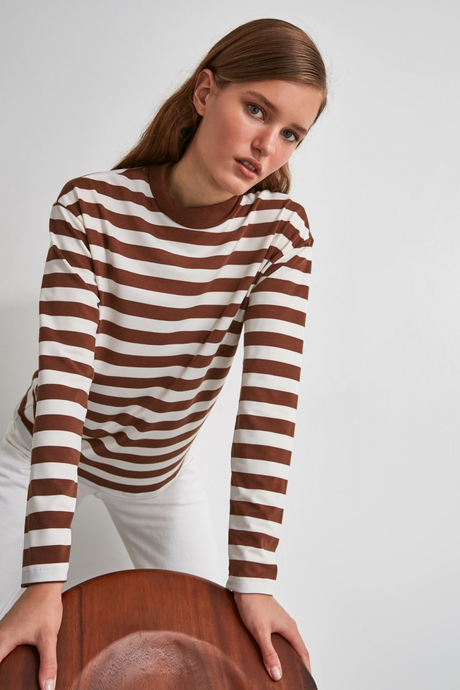 Trendyol Mink Striped Steep Collar Knitted T-Shirt