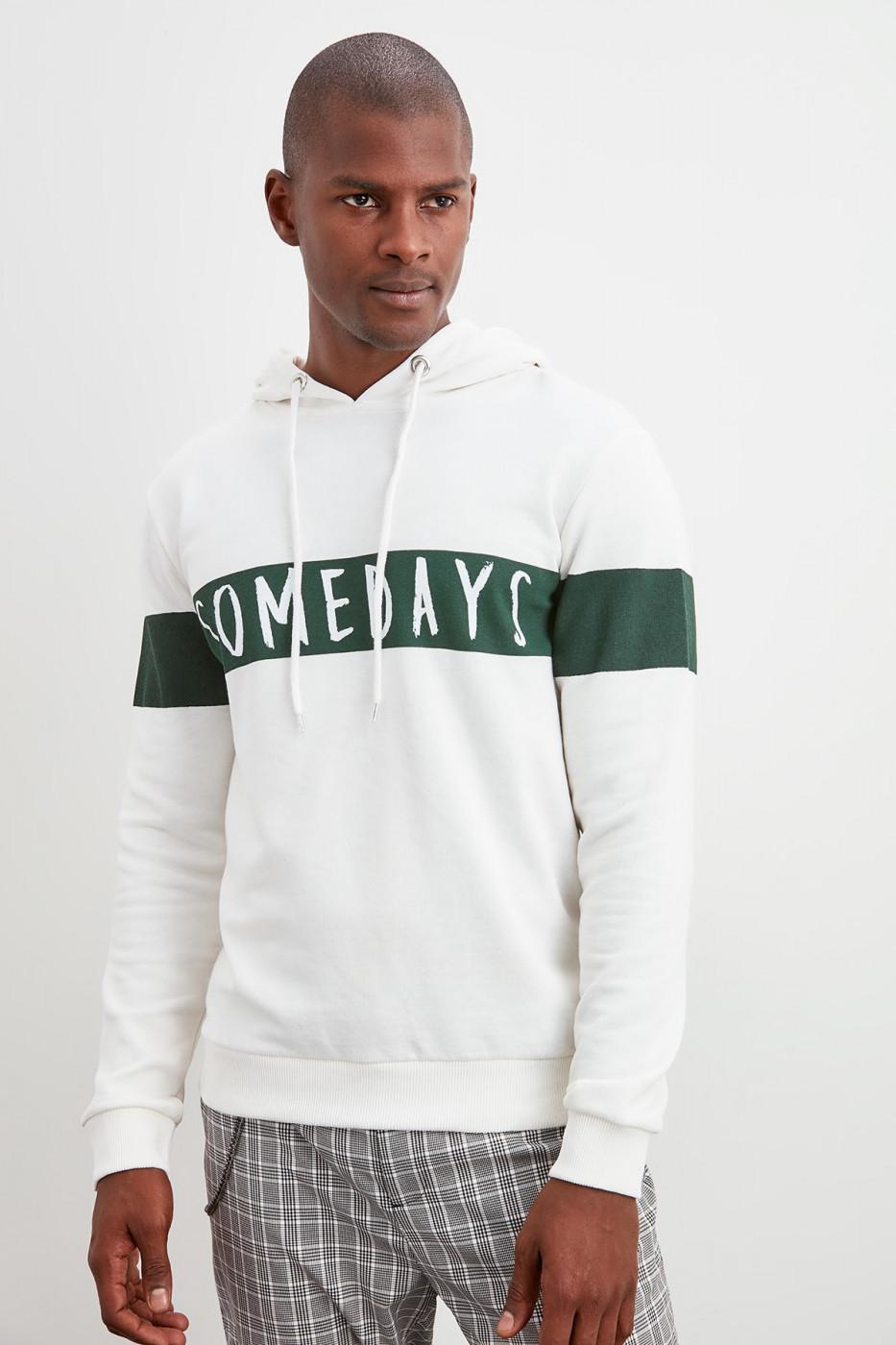 Trendyol Ecru Panel printed sweatshirt