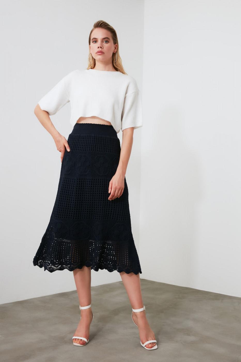 Trendyol Navy Knitting Detailed Knitwear Skirt