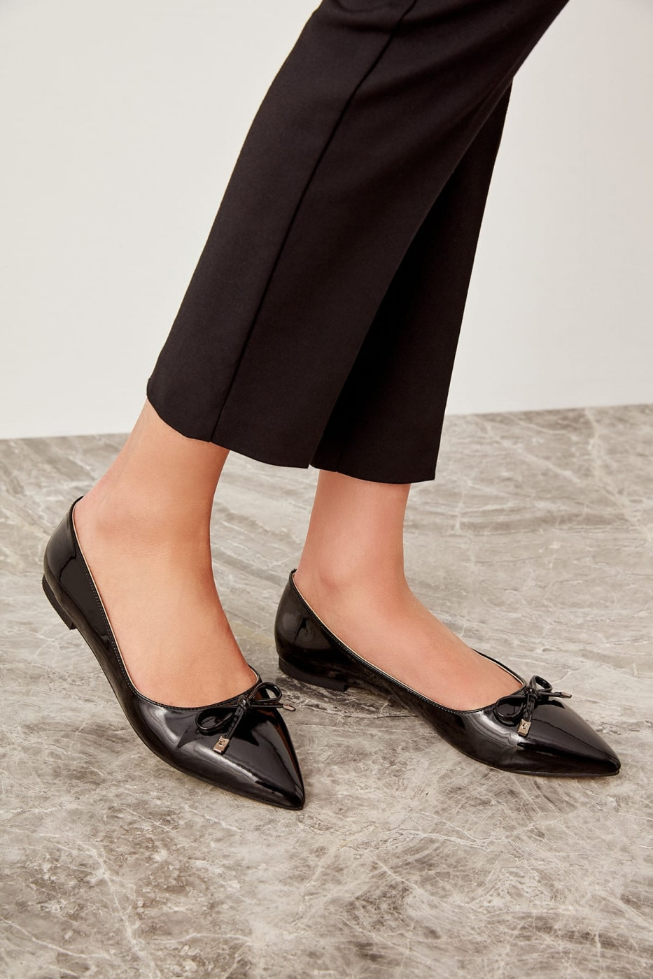 Trendyol Black Patent Leather Women's Flats