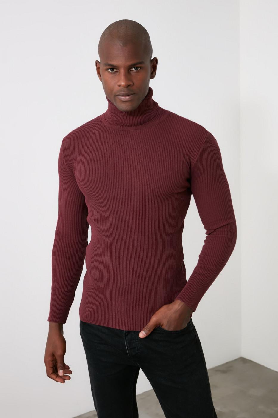 Trendyol Mydm Male Slim Fit Rubber Knitted Turtleneck Knitwear Sweater