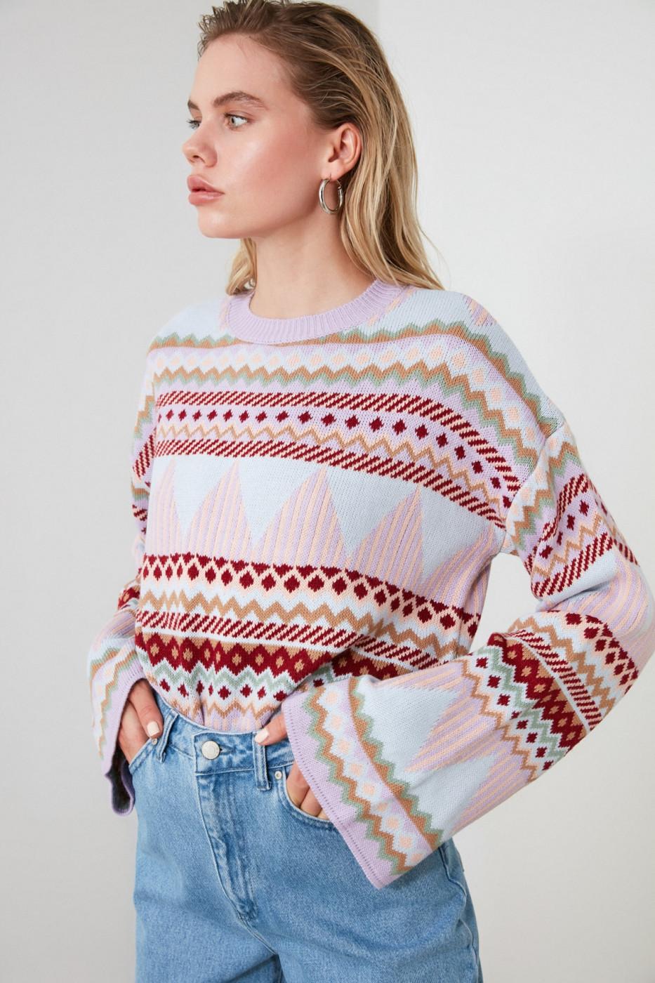 Trendyol Multi-Color Jacquard Knit Sweater