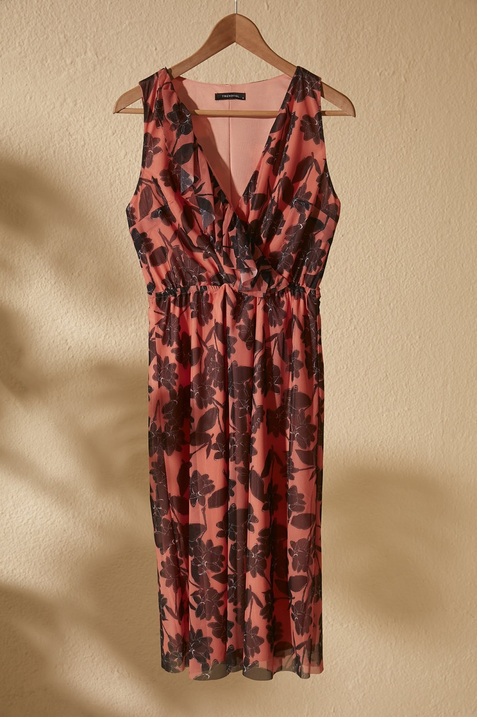 Trendyol Salmon Cruise Neck Line Patterned Knitted Dress