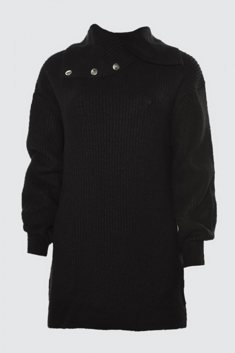 Trendyol Black Collar Dual-Use Button Knit Sweater