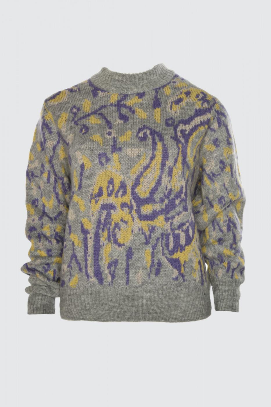 Trendyol Gray Shawl Patterned Knitwear Sweater