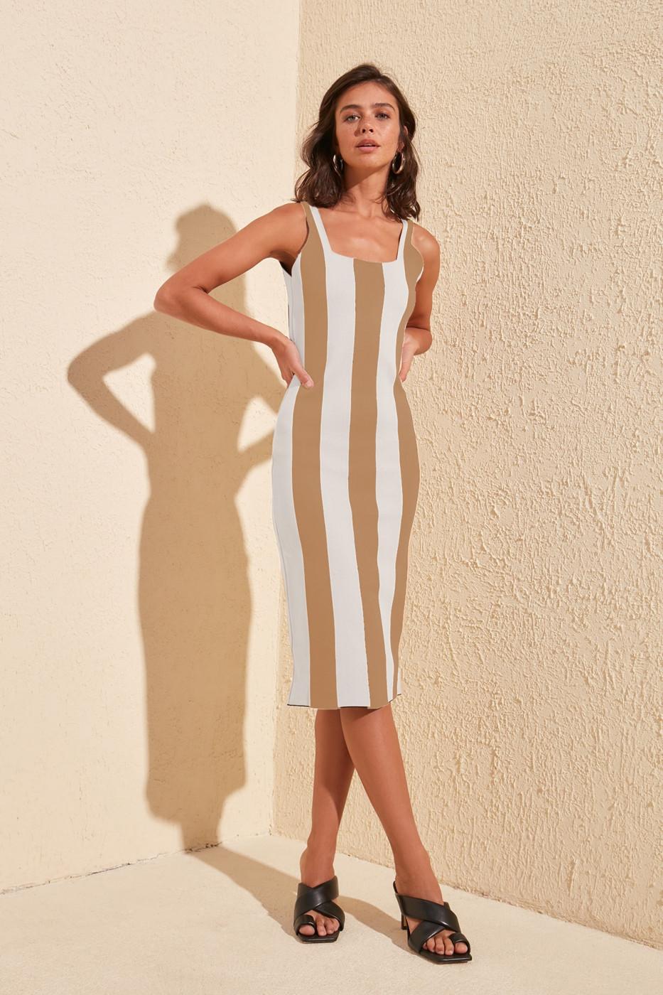 Trendyol Ekru Striped Knitwear Dress