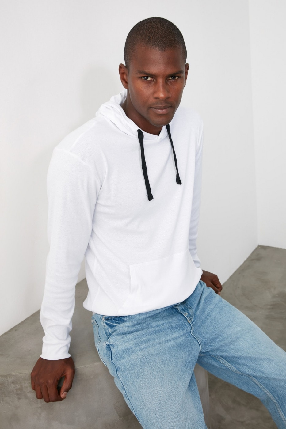 Trendyol White Male Long SleeveHood T-Shirt