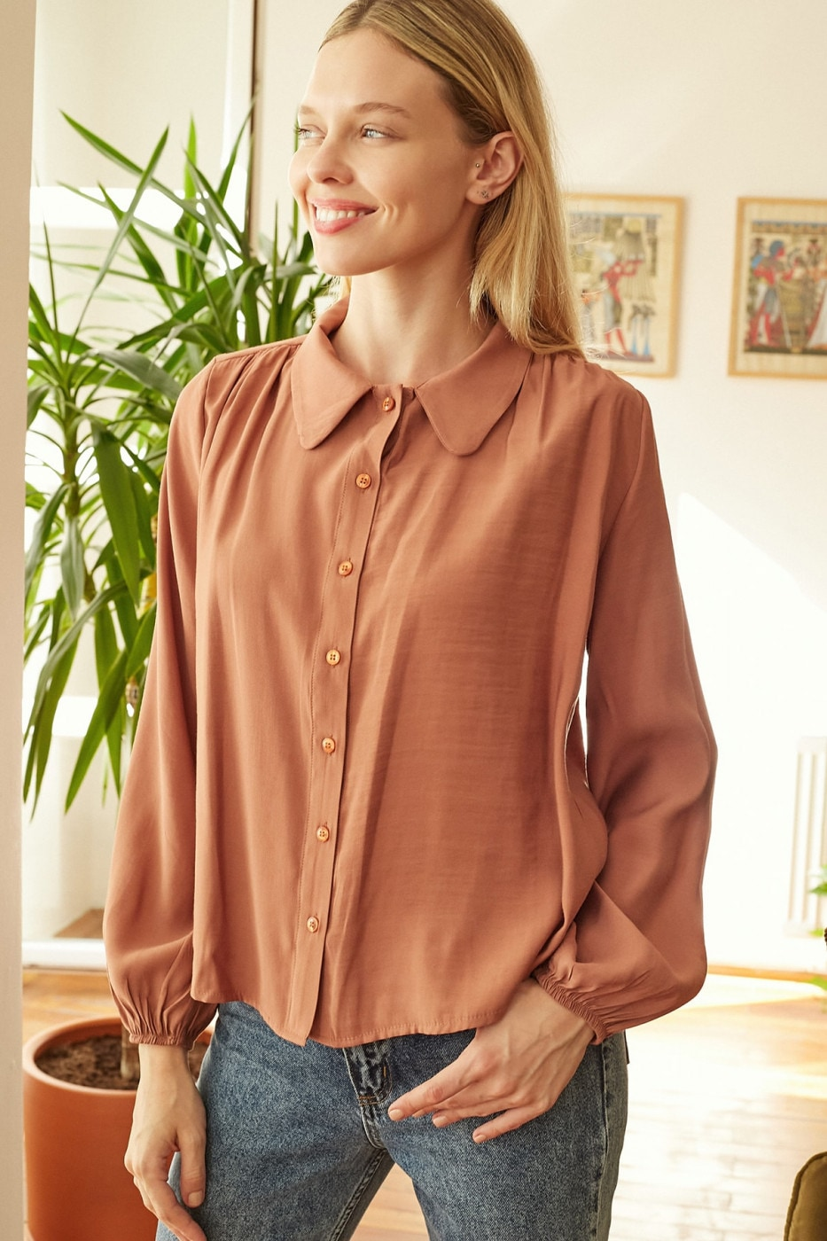 Trendyol Cinnamon Collar Detailed Shirt