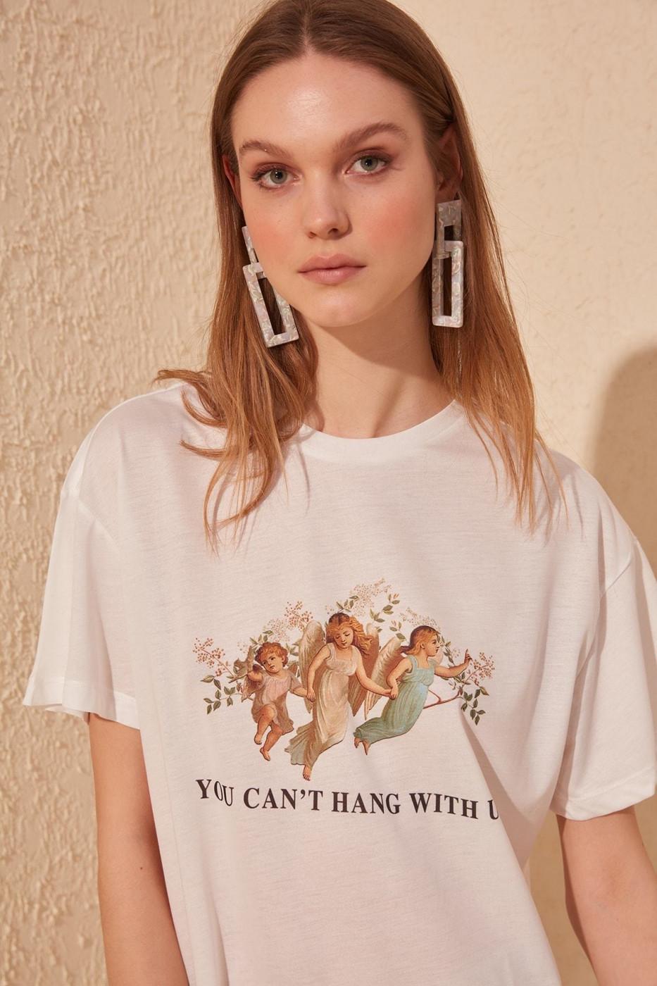 Trendyol White printed Boyfriend knitted T-shirt