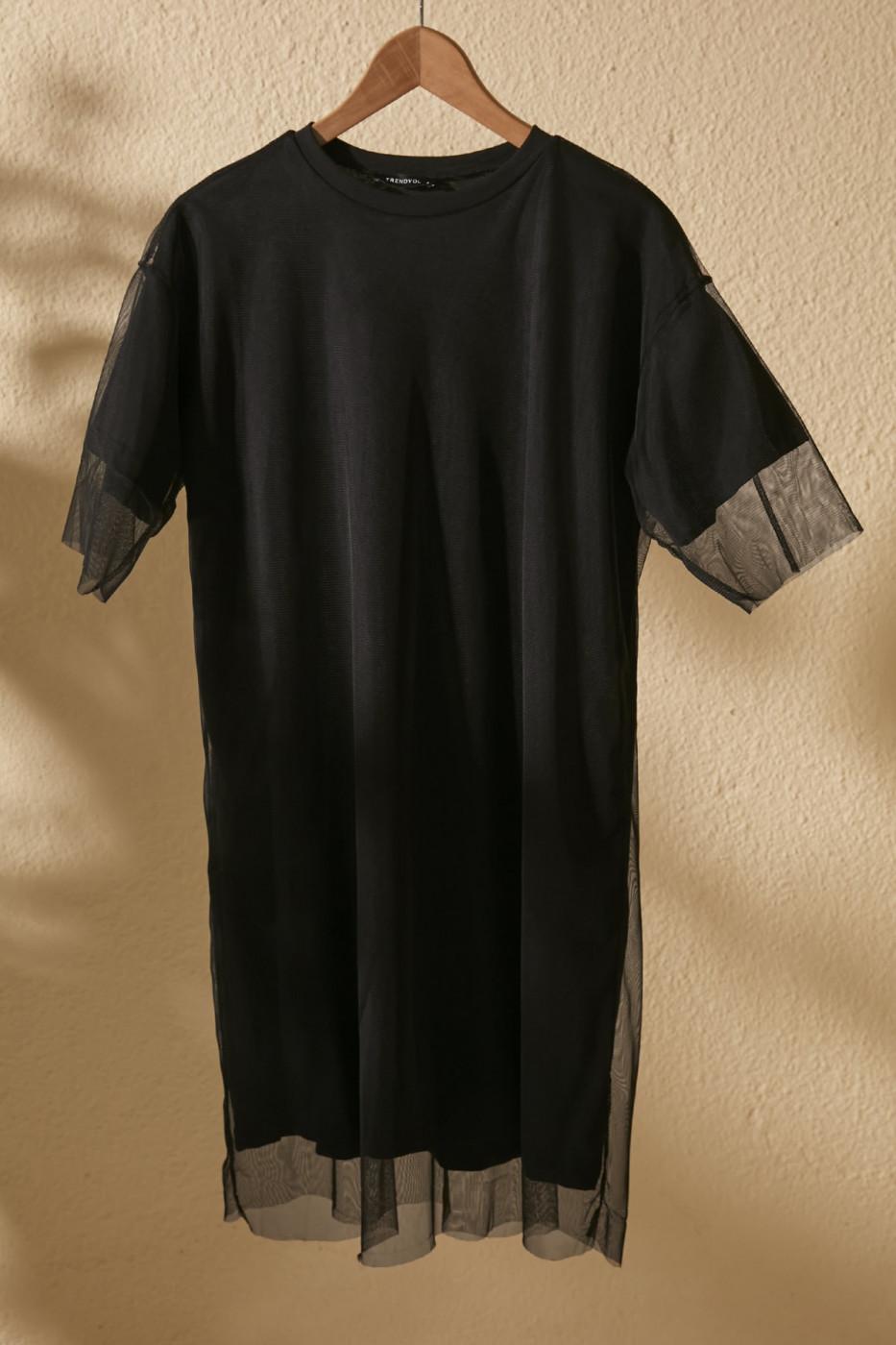 Trendyol Black Bicycle Collar Tulle Detailed Knitting Dress