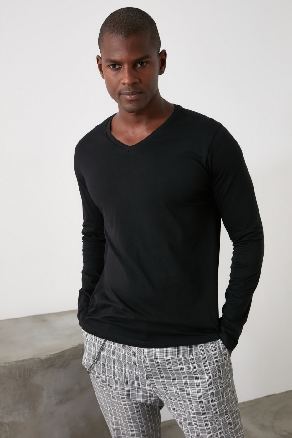 Trendyol Black V Collar Long Sleeve T-Shirt