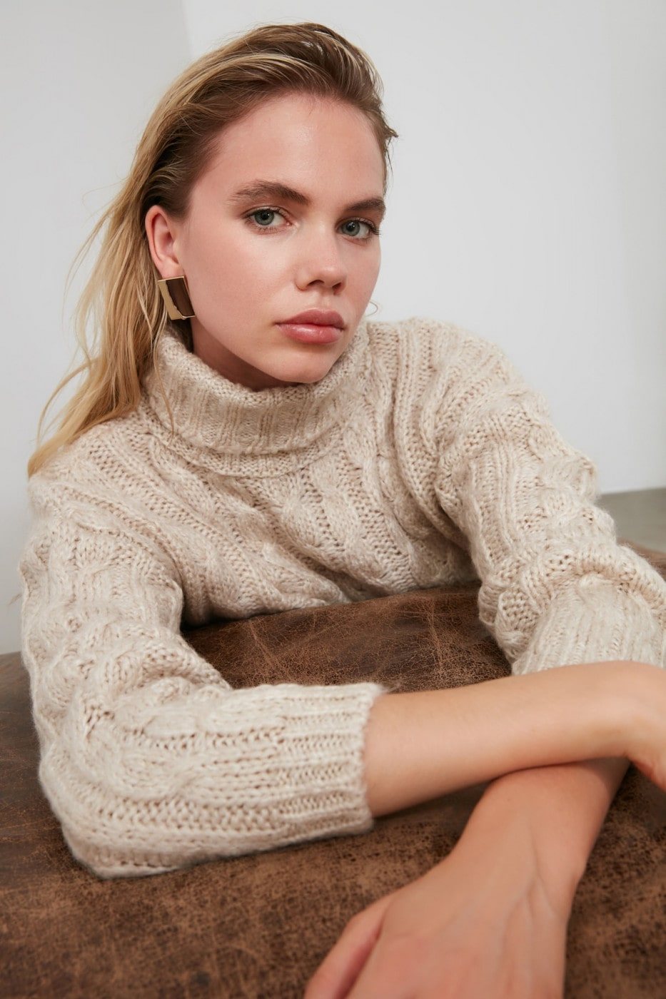Trendyol Stone Hair Braid Detailed Knitwear Sweater