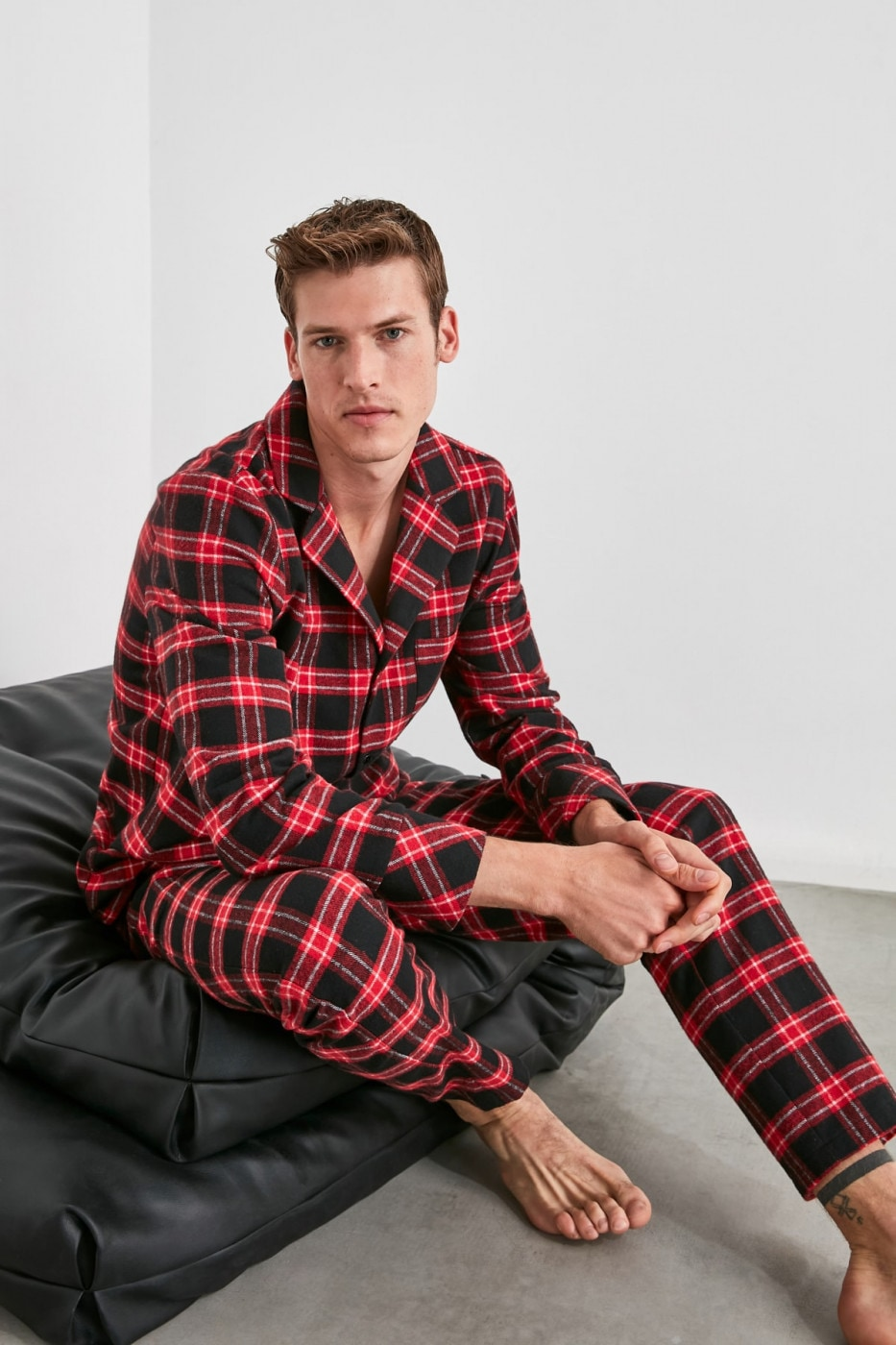 Trendyol Red Plaid Flannel Woven Pajama Set