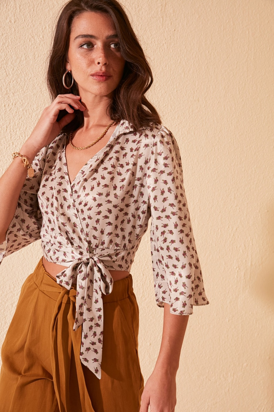 Trendyol Mink Patterned Blouse