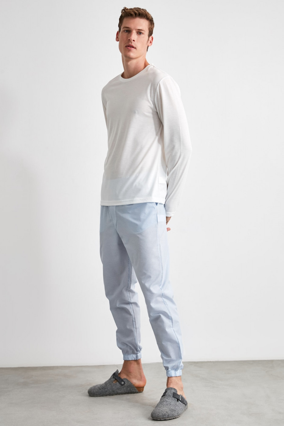 Trendyol Blue Striped Jogger Woven Pajamas bottom