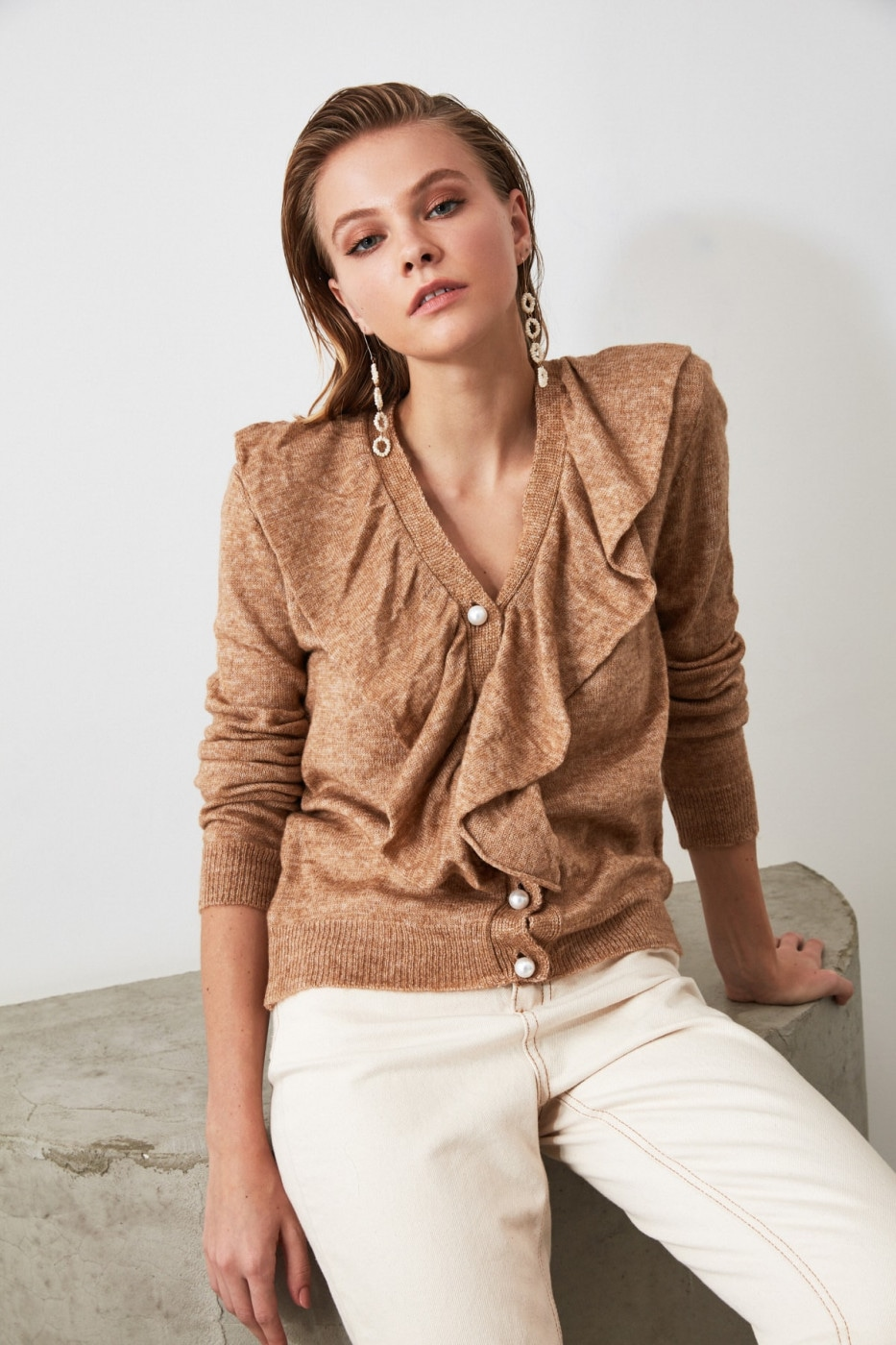 Trendyol Camel Volli Pearl Button Detailed Cardigan