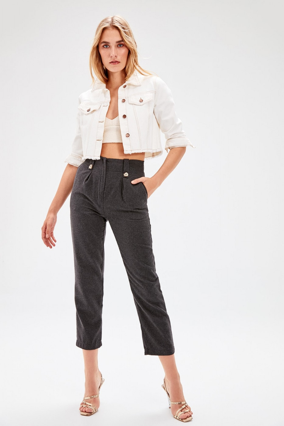 Trendyol Anthracite Bone Button Detailed Pants