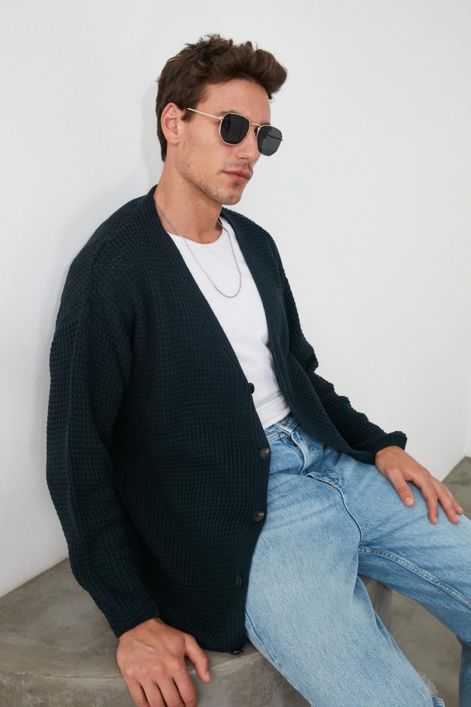 Trendyol Navy Men Oversize V Knitwear Cardigan