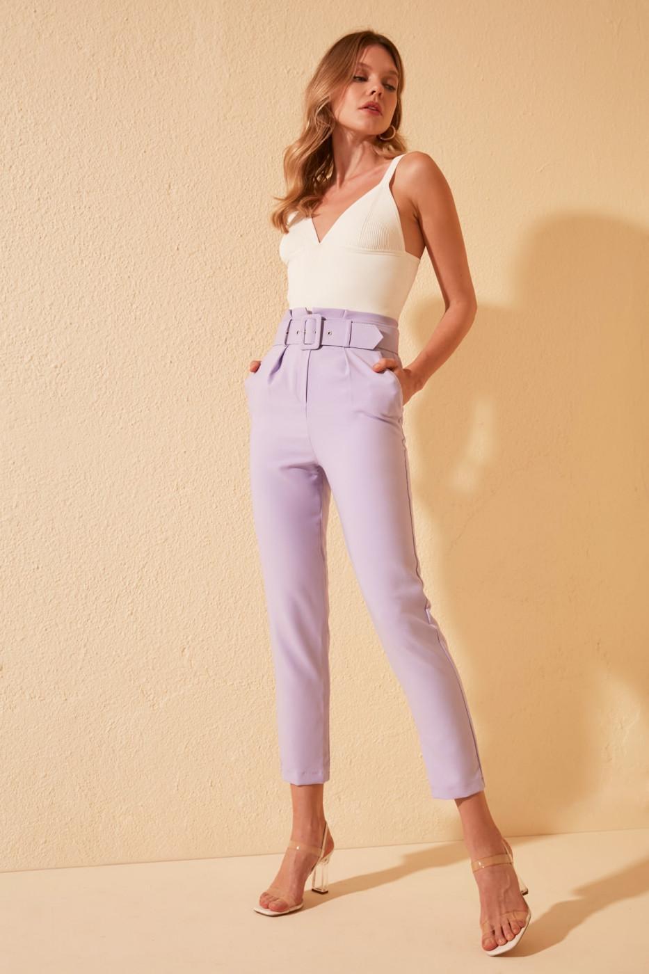Trendyol Lila Belt Detailed Pants